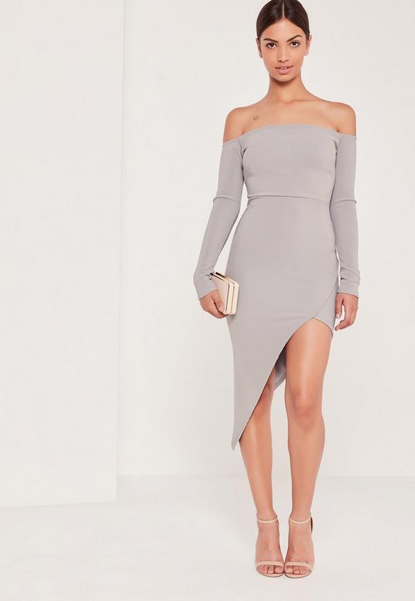 Ribbed Bardot Asymmetric Wrap Dress Grey