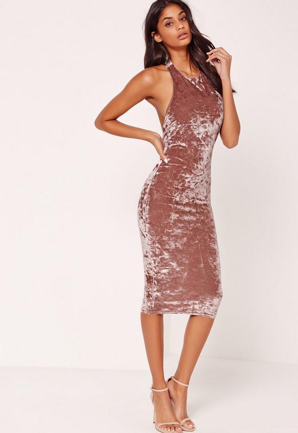 Crushed Velvet Halterneck Midi Dress Pink