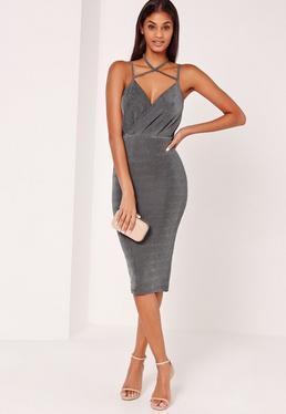 Wrap Strappy Halterneck Slinky Midi Dress Grey