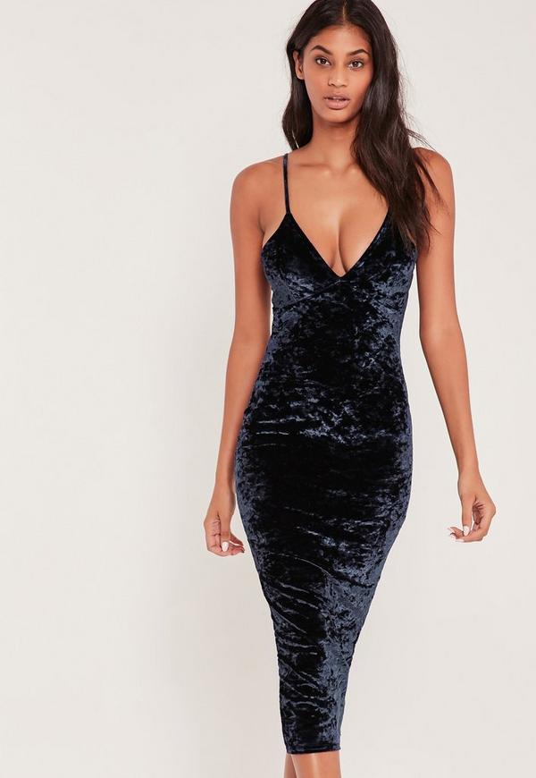 Strappy Crushed Velvet Midi Dress Navy