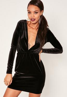 Long Sleeve Plunge Ruched Waist Velvet Dress Black