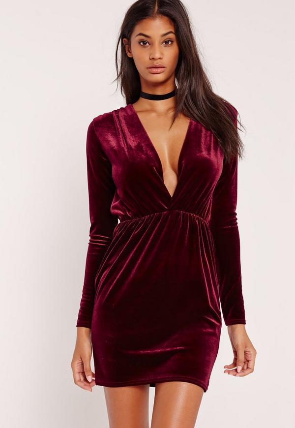 Long Sleeve Plunge Ruched Waist Velvet Dress Burgundy