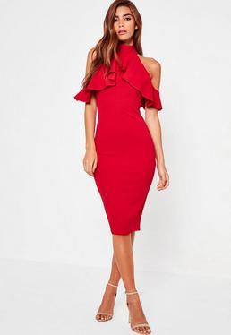 Czerwona sukienka midi z wyciętymi ramionami i falbanką