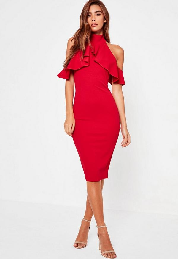 High Neck Frill Cold Shoulder Midi Dress Red | Missguided