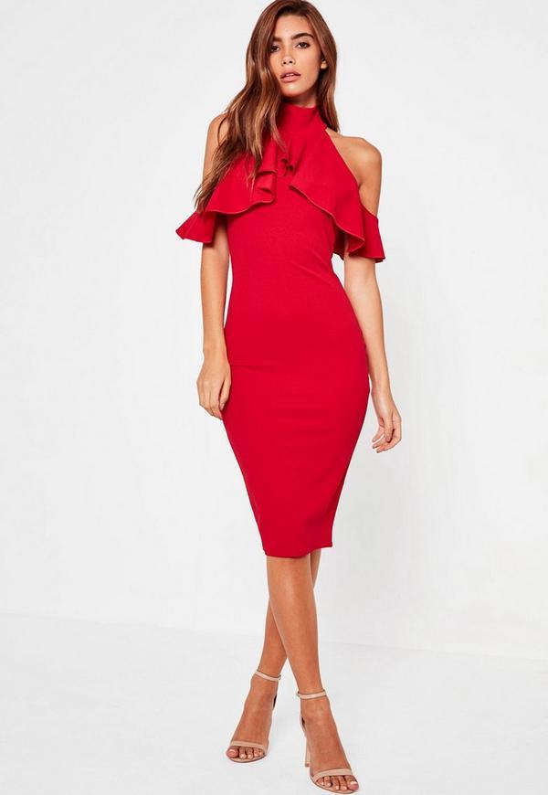 High Neck Frill Cold Shoulder Midi Dress Red