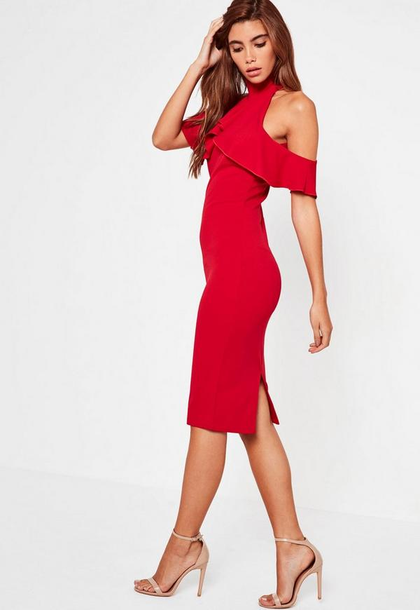 High Neck Frill Cold Shoulder Midi Dress Red Missguided