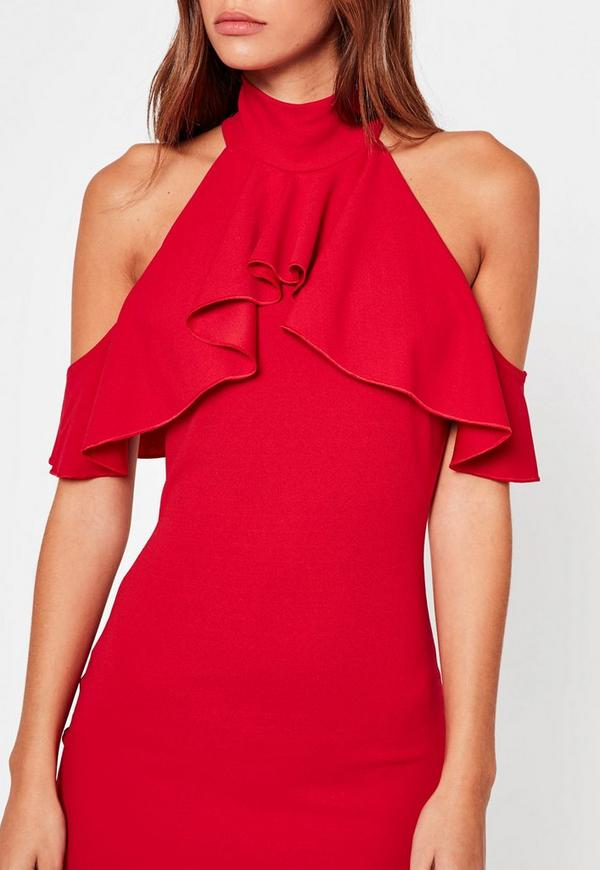 Robe a volant rouge