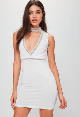 White Ladder Trim Choker Plunge Bodycon Dress