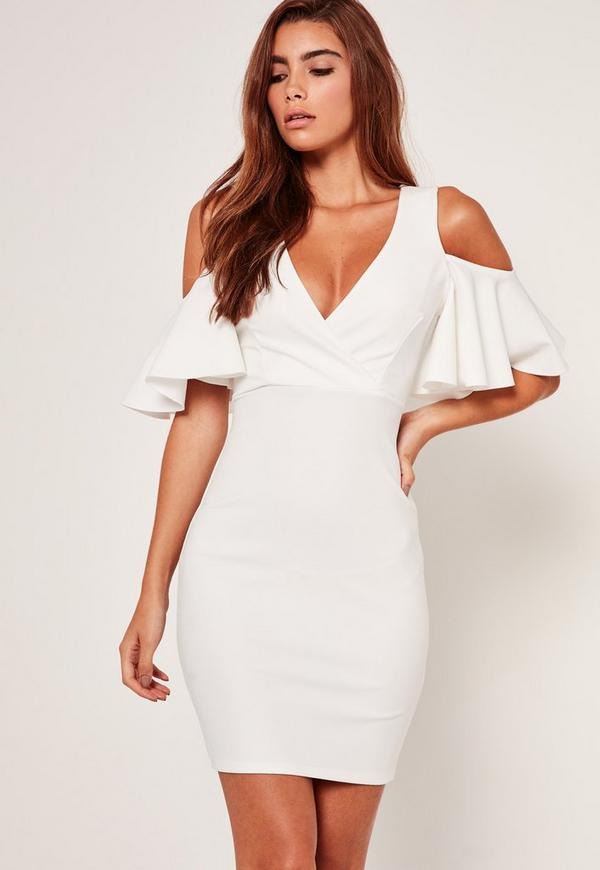White Frill Cold Shoulder Plunge Bodycon Dress