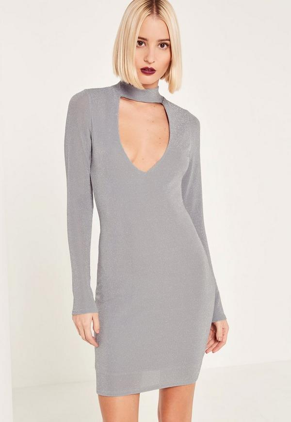 Grey Lurex Choker Neck Curve Hem Bodycon Dress