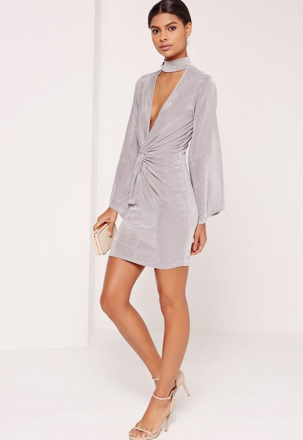 Choker Neck Knot Front Dress Grey