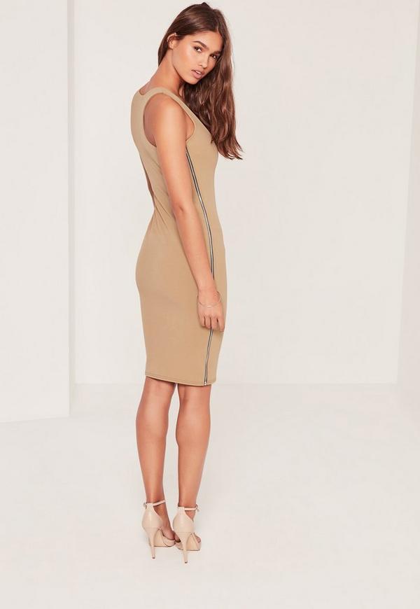 Zip Side Sleeveless Midi Dress Camel