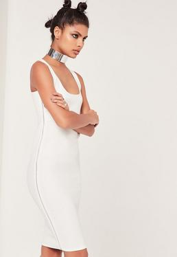 White Zip Side Sleeveless Midi Dress