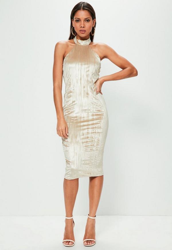 Nude Pleated Velvet Halterneck Midi Dress