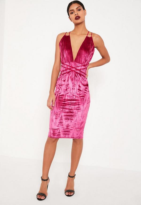 Pleated Pink Velvet Halterneck Midi Dress