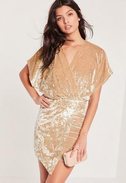 Velvet Kimono Sleeve Wrap Dress Nude