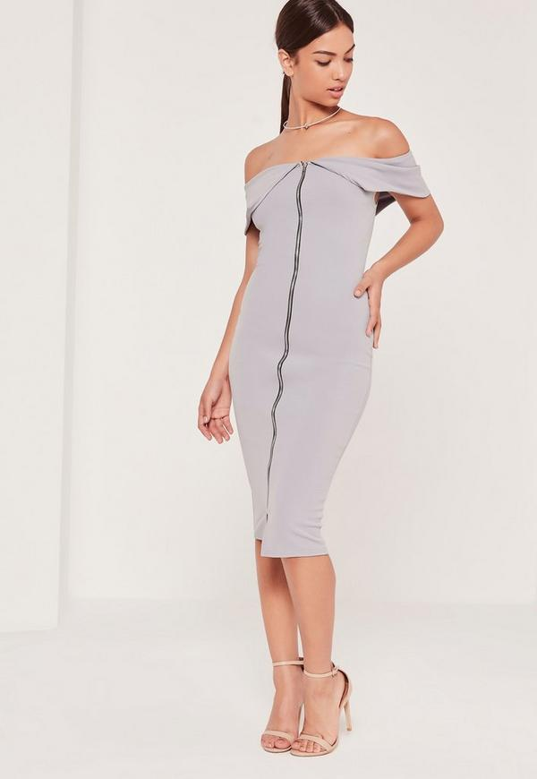 Zip Front Frill Bardot Midi Dress Grey