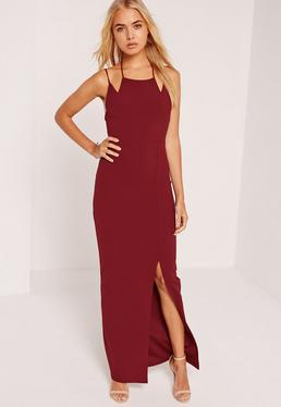 Double Strap Split Hem Maxi Dress Burgundy
