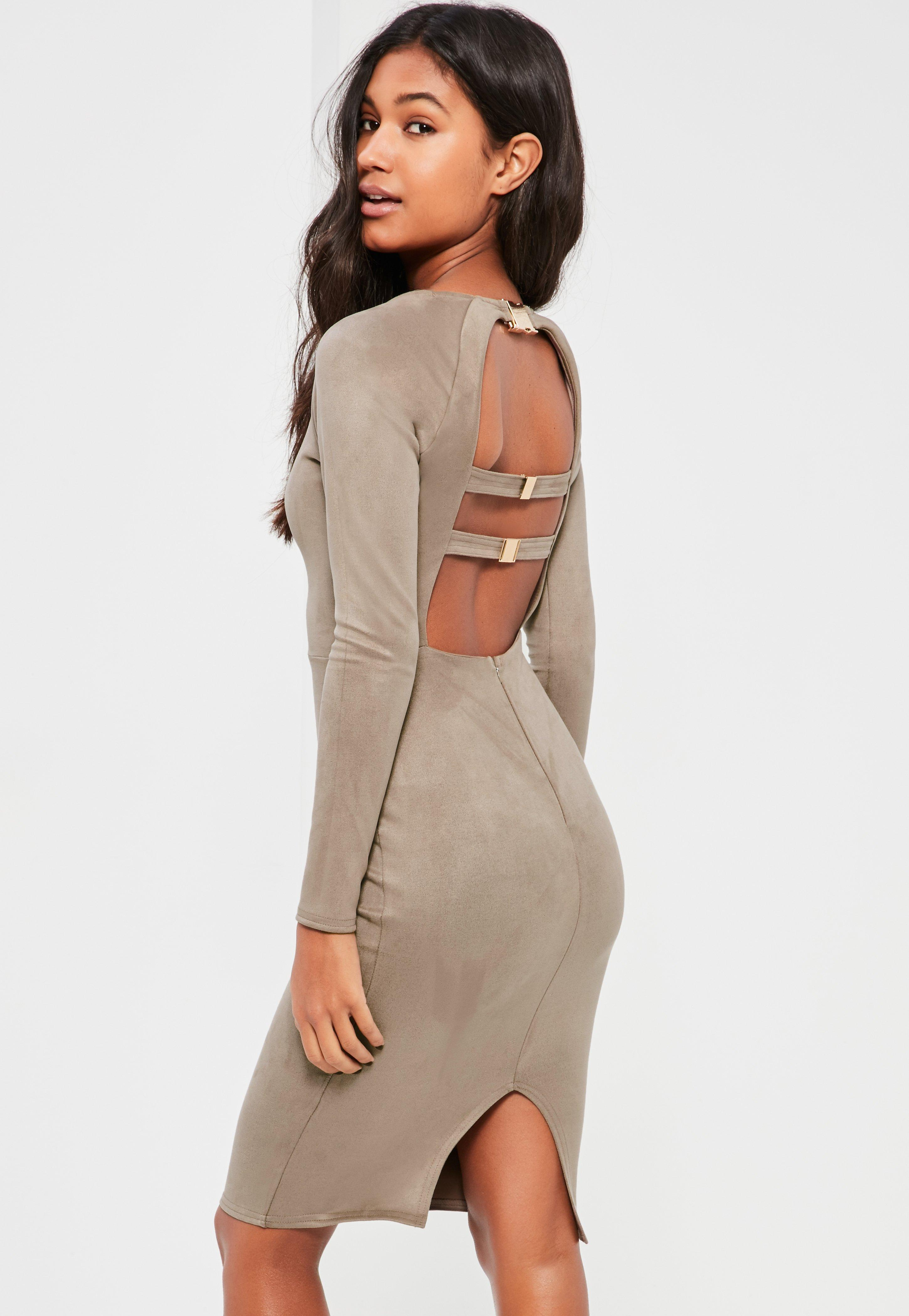 Grey Bonded Suede Buckle Back Midi Dress