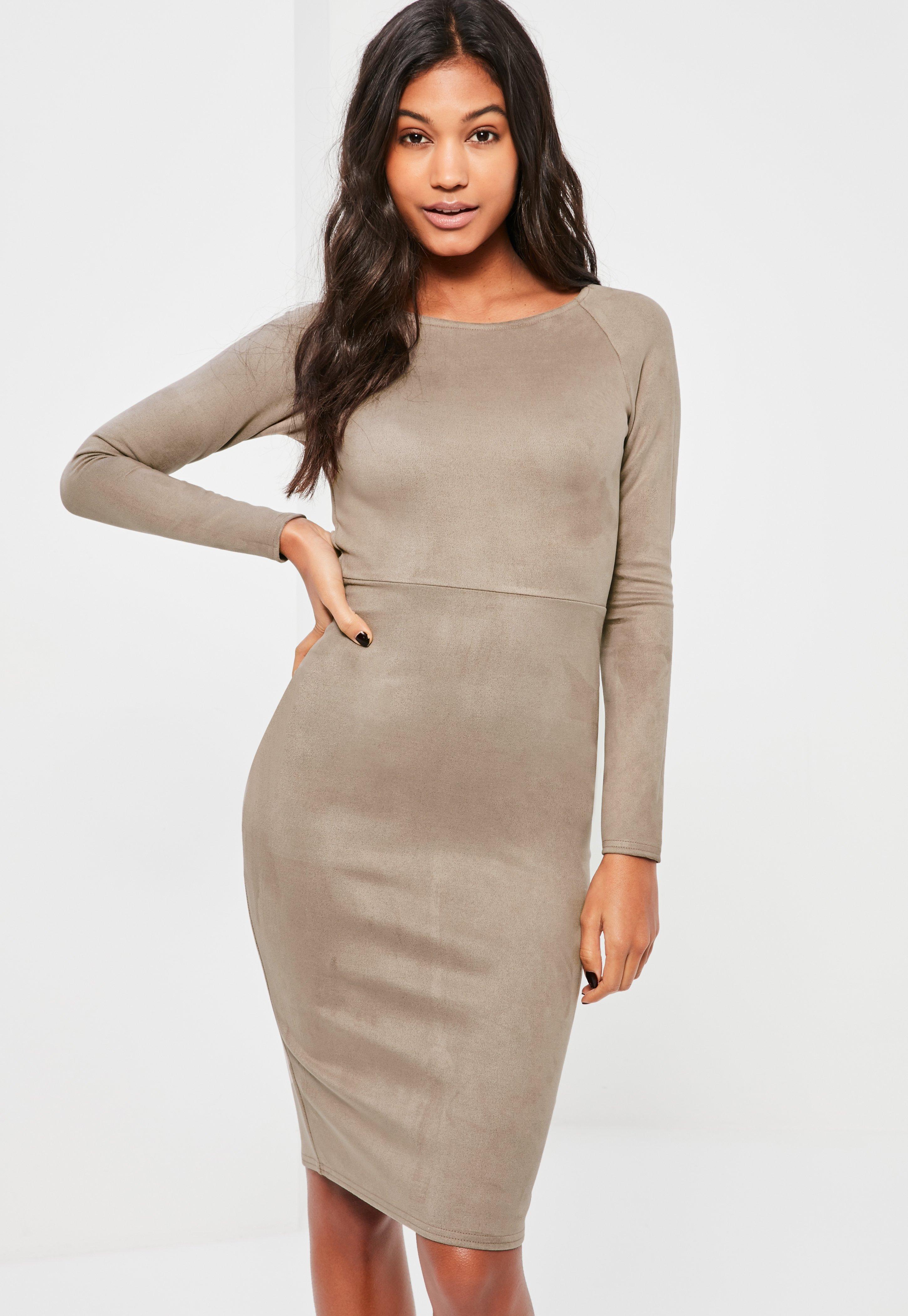 Grey Bonded Suede Buckle Back Midi Dress