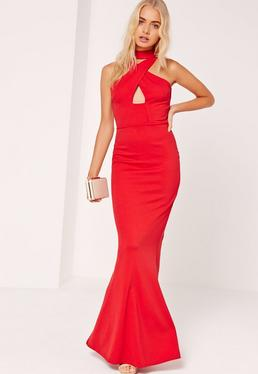 Wrap Front Neck Fishtail Maxi Dress Red