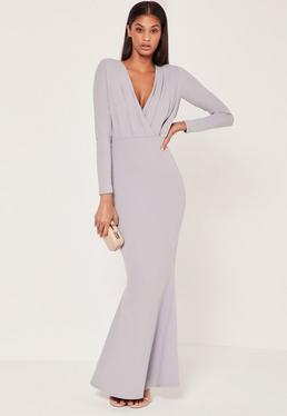 Pleat Plunge Long Sleeve Fishtail Maxi Grey