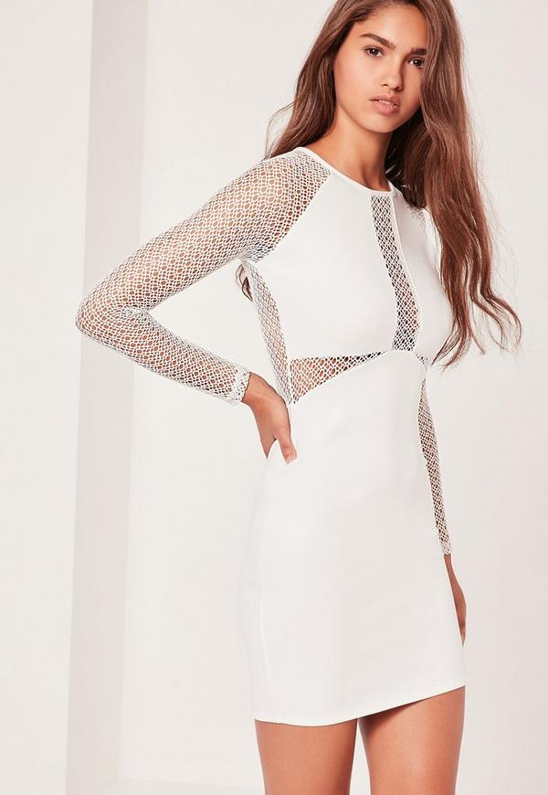Long Sleeve Fishnet Panel Bodycon Dress White