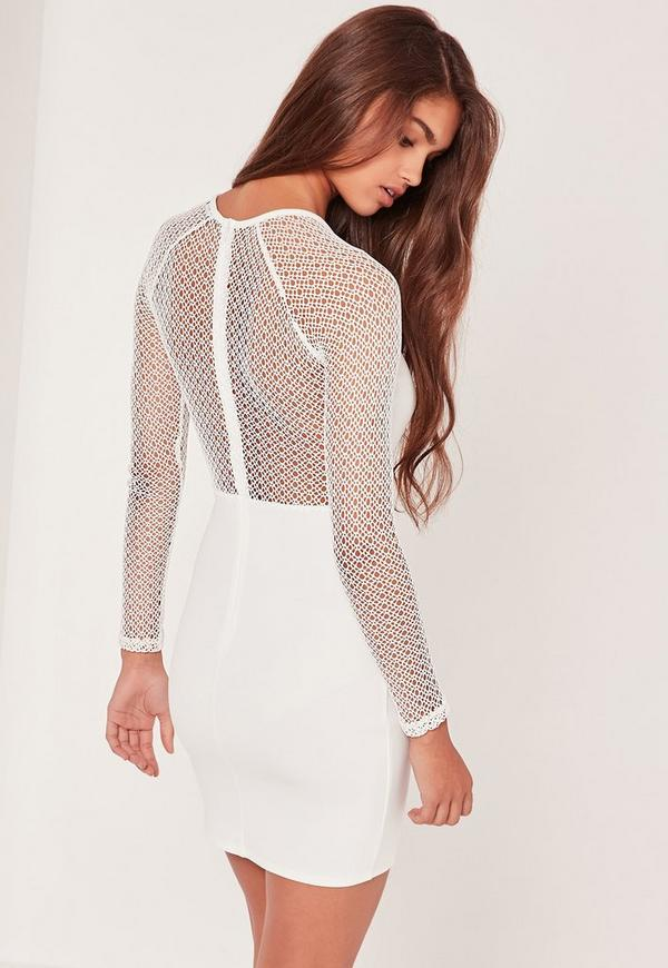 Sleeve dress white bodycon questions long blue
