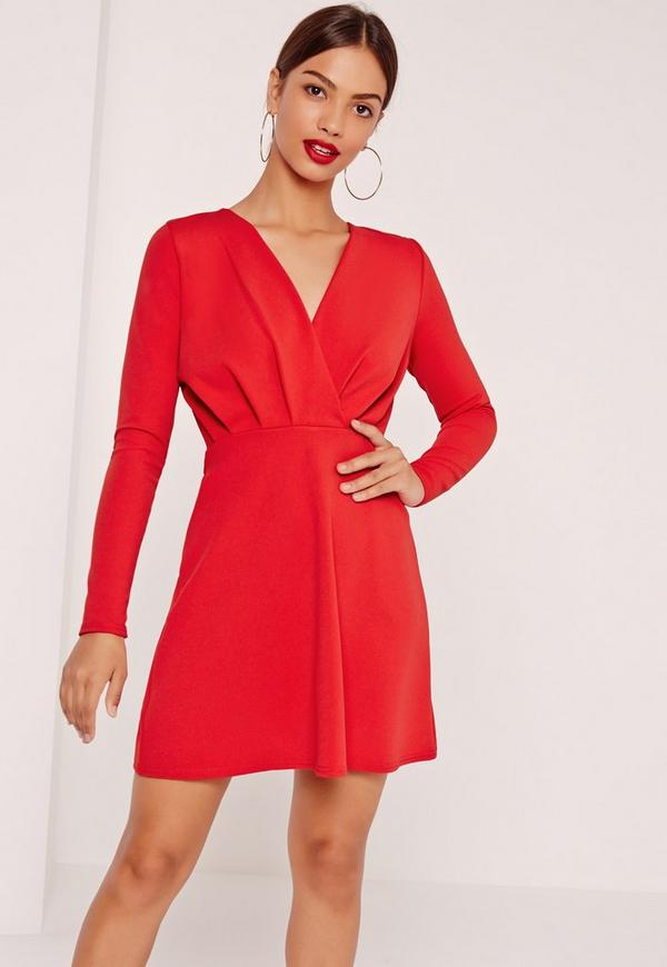 Pleated Plunge Long Sleeve Skater Dress Red