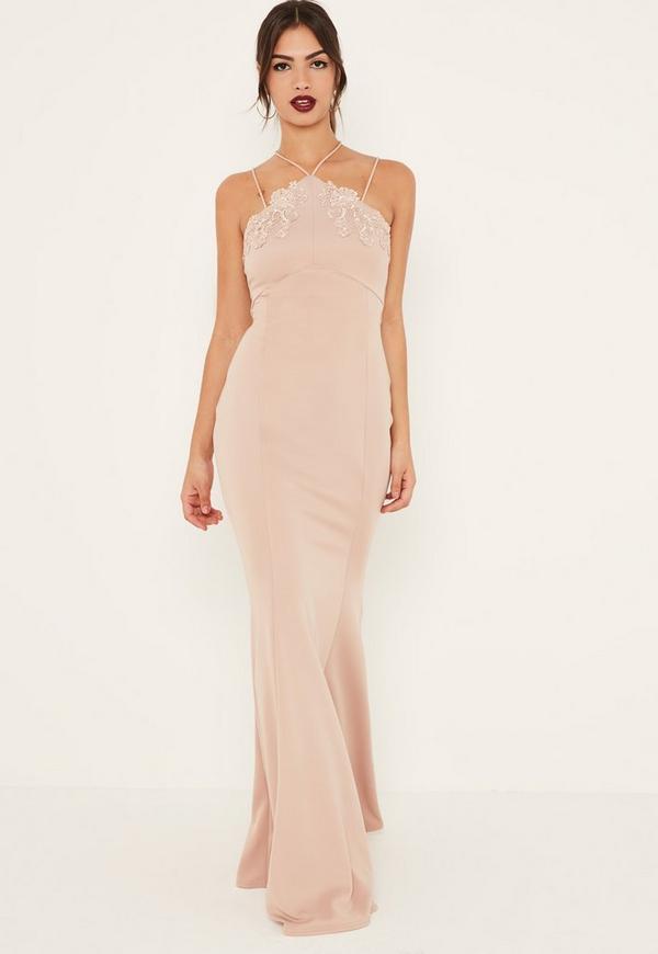 Nude Applique Lace Strappy Fishtail Maxi Dress
