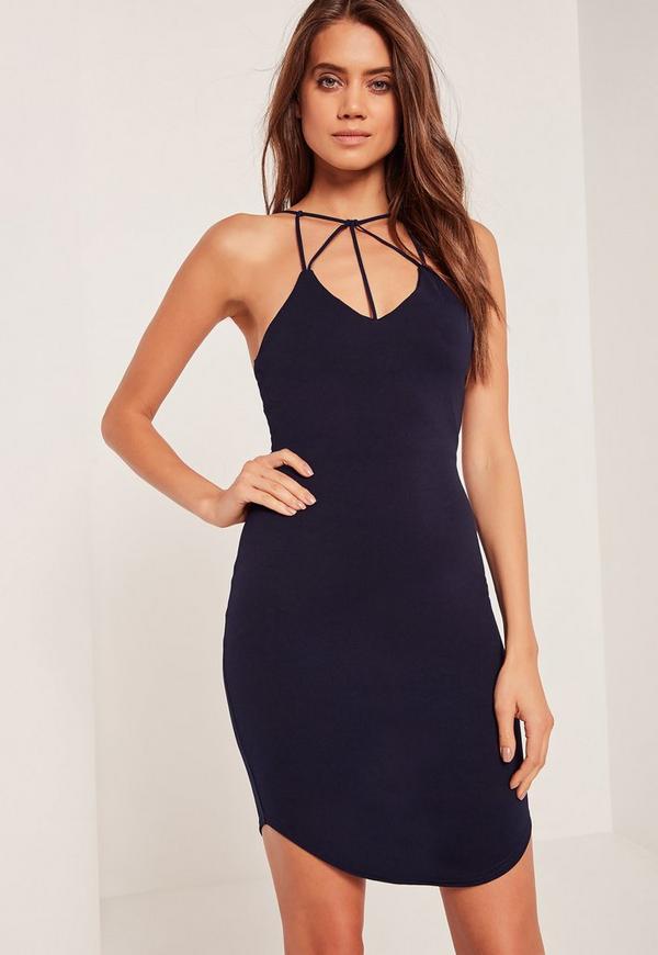 Multi Strap Curve Hem Bodycon Dress Blue
