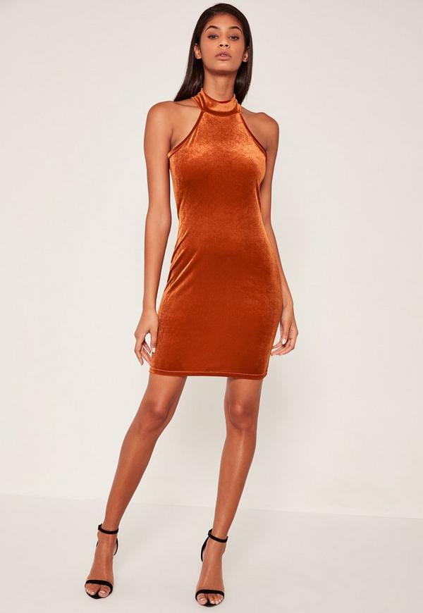 Orange High Neck Velvet Sleeveless Bodycon Dress