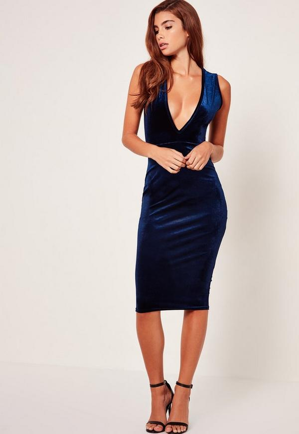 Extreme Plunge Sleeveless Velvet Midi Dress Navy