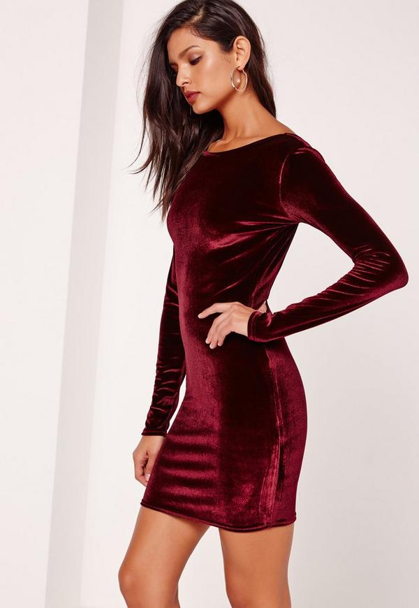 Low Back Velvet Long Sleeve Bodycon Dress Burgundy | Missguided