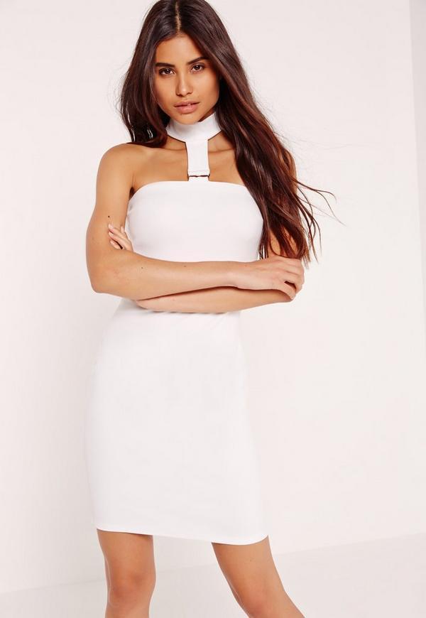 D Ring Choker Halter Mini Dress White