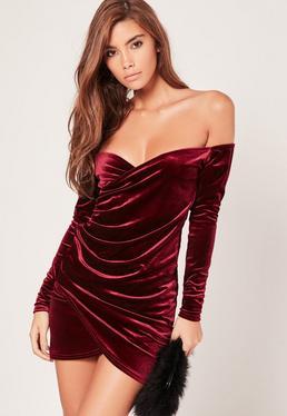 Bardot Wrap Long Sleeve Velvet Dress Burgundy