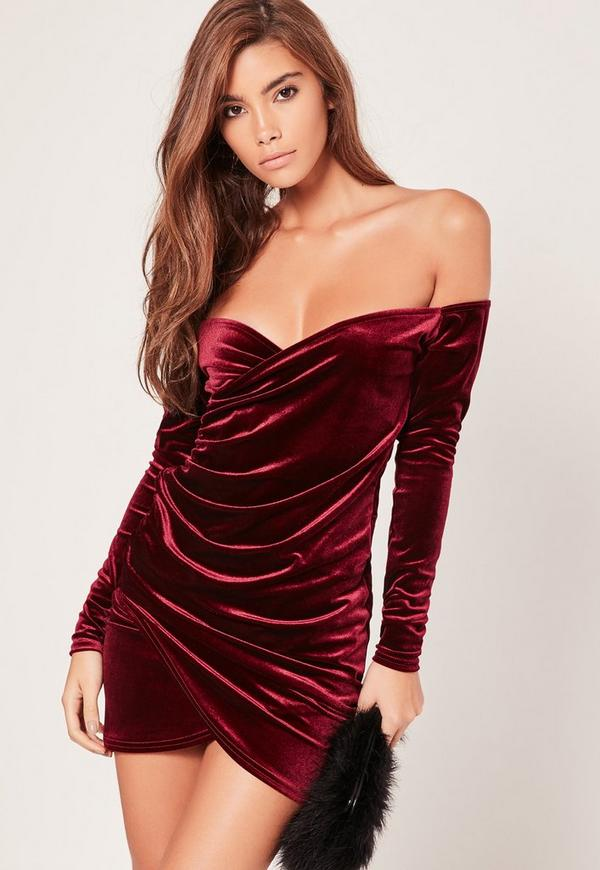 Bardot Wrap Long Sleeve Velvet Dress Burgundy