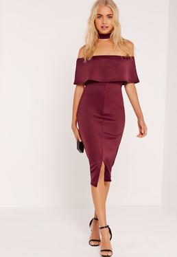 Choker Neck Zip Back Bandeau Midi Dress Burgundy