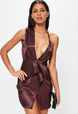 Purple Silky Wrap Dress