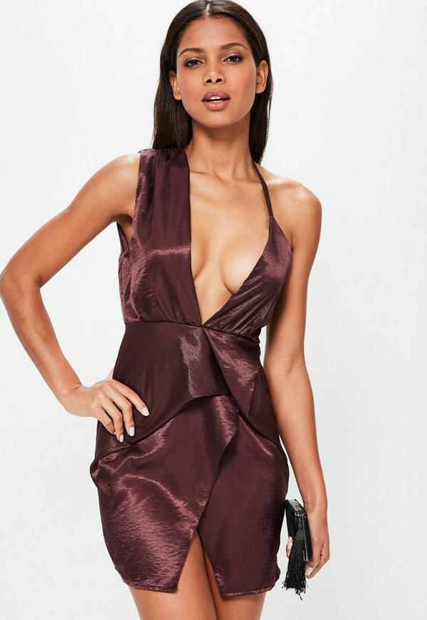 Purple Silky Wrap Dress