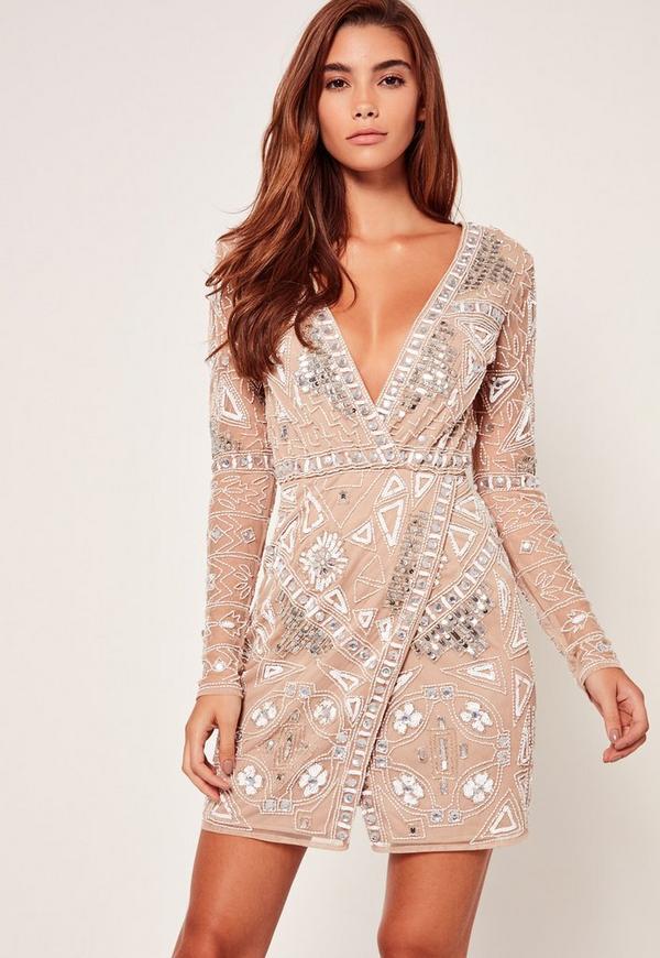 Premium Wrap Embellished Mini Dress
