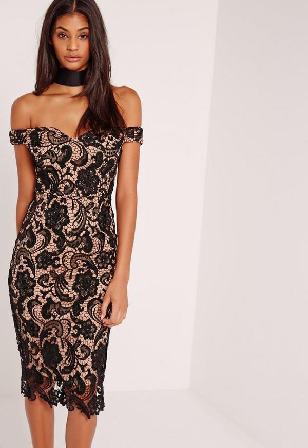 Bardot Lace Midi Dress Black