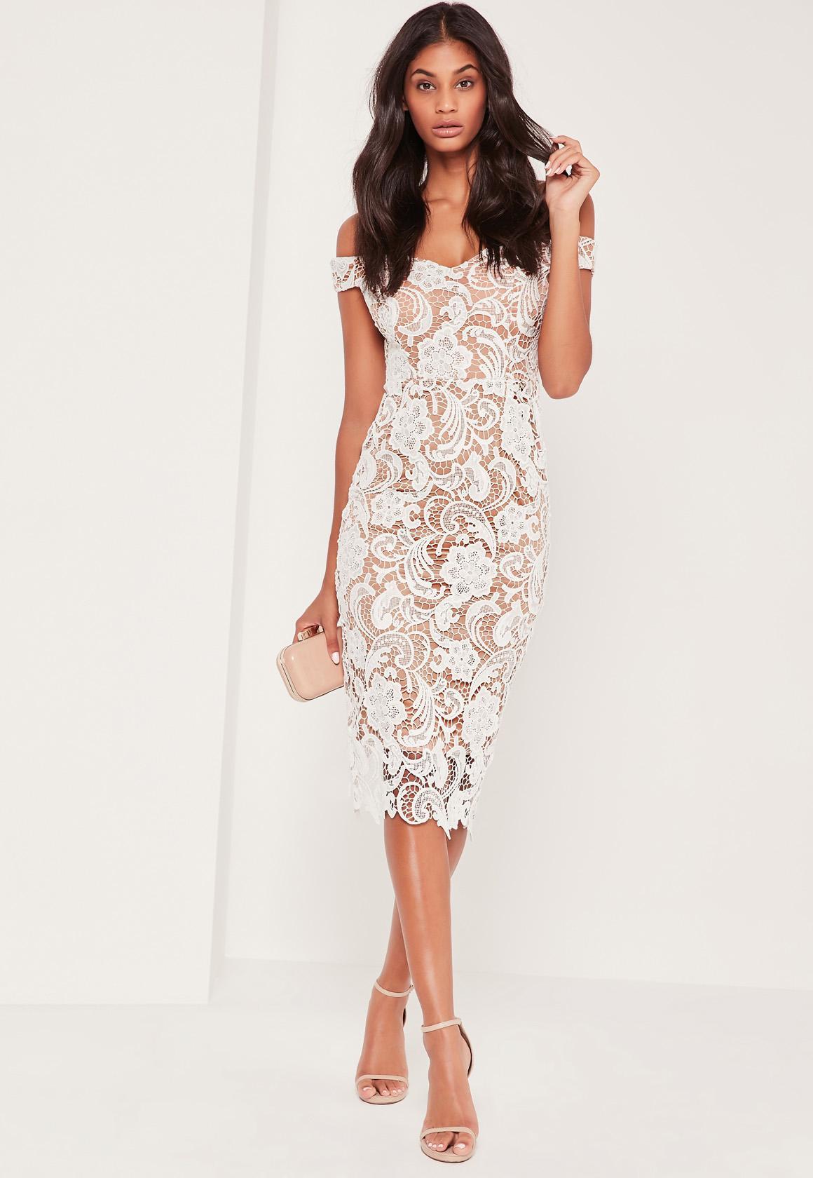 Wedding White Lace bardot lace midi dress white missguided previous next