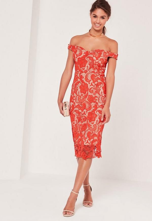 Bardot Lace Midi Dress Red