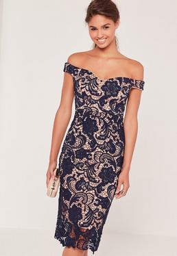Bardot Lace Midi Dress Navy