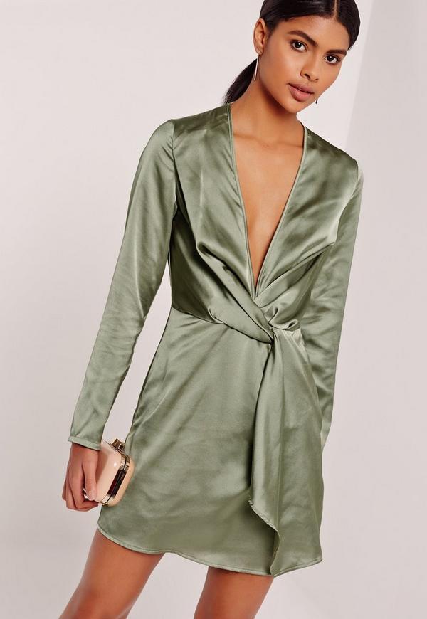 Silky Plunge Wrap Shift Dress Green
