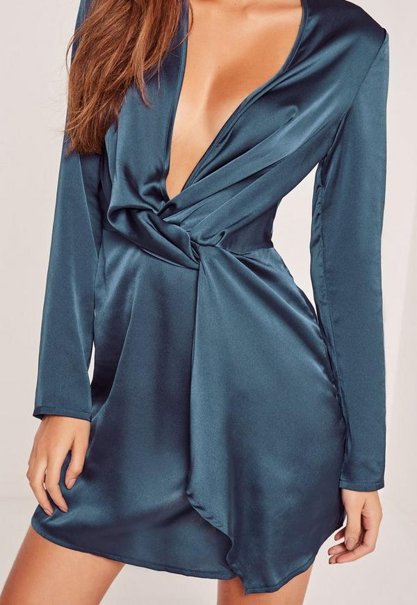 Silky Plunge Wrap Shift Dress Navy Missguided Australia