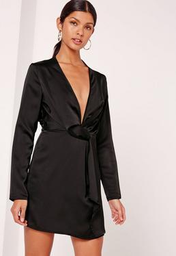 SIlky Plunge Wrap Shift Dress Black