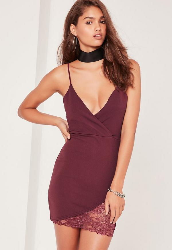 Strappy Wrap Lace Trim Mini Dress Purple