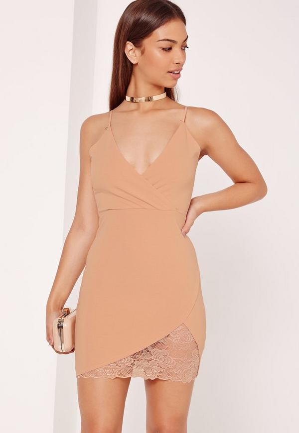 Strappy Wrap Lace Trim Mini Dress Nude